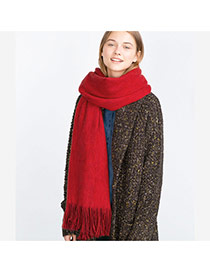 Fashion Red Pure Color Decorated Simple Tassel Design Scarf