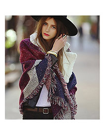 Fashion Red Color Matching Deckle Edge Design Scarf