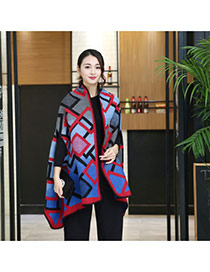 Fashion Red+blue Grid Pattern Decorated Cloak Design Scarf