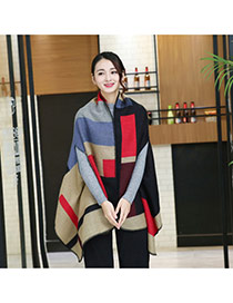 Fashion Khaki+red Grid Pattern Decorated Cloak Design Scarf