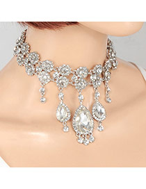 Fashion Silver Color Water Drop Shape Diamond Decorated Double Layer Necklace