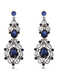 Fashion Blue Oval Shape Decorated Simple Hollow Out Earrings
