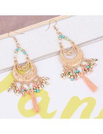 Bohemia Pink Moon Shape Decorated Pure Color Simple Tassel Earrings