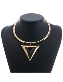 Vintage Gold Color Metal Triangle Shape Decorated Pure Color Simple Necklace