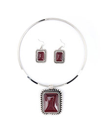 Vintage Dark Red Square Shape Pendant Decorated Simple Jewelry Sets