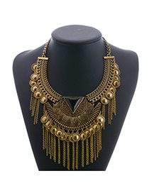 Fashion Gold Color Round Shape Decorated Pure Color Tassel Necklace