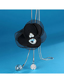Elegant Black Flower Shape Decorated Simple Long Chain Sweater Necklace
