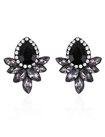 Fashion Black Oval Shape Decorated Simple Pure Color Earrings