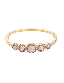 Elegant Gold Color Diamond Decorated Round Shape Simple Bracelet