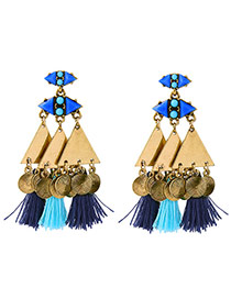 Vintage Gold Color +blue Geometric Shape Decorated Tassel Simple Earrings