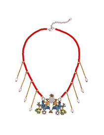 Personality Red+blue Matal Monkey Decorated Simple Short Chain Neckalce