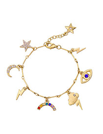 Personality Gold Color Various Shapes Pendant Decorated Simple Bracelet