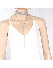Fashion Silver Color Long Tassel Pendant Decorated Double Layer Necklace