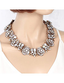 Fashion Multi-color Geometric Shape Diamond Decorated Flower Shape Necklace