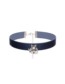 Fashion Navy Perals&diamond Decorated Five-petaled Flowers Simple Choker