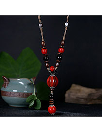 Fashion Red Round Shape Decorated Long Cahin Simple Necklace