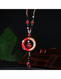 Vintage Red Round Shape Decorated Long Cahin Simple Necklace