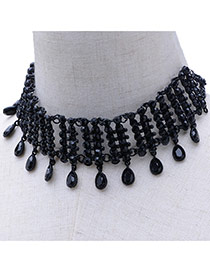 Fashion Black Pure Color Decorated Hollow Out Simple Choker