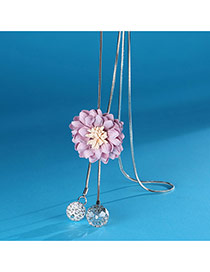 Sweet Pink Flower Shape Decorated Tassel Simple Necklace
