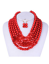 Elegant Red Round Shape Decorated Pure Color Jewelry Sets