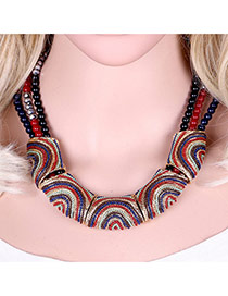 Vinatge Multi-color Color Matching Decorated Mutilayer Simple Necklace