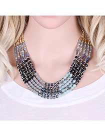 Elegant Blue Round Shape Decorated Multilayer Short Chain Necklace