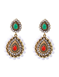 Bohemia Multi-color Oval Shape Diamond Decorated Simple Earrings
