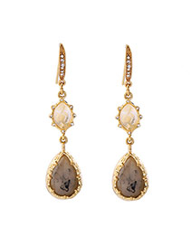 Fashion Gold Color Watershape Gemstone Decorated Long Earrings