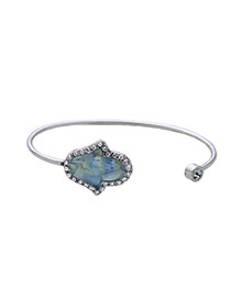 Fashion Silver Color Metal Palm Shape Decorated Simple Opening Bracelet