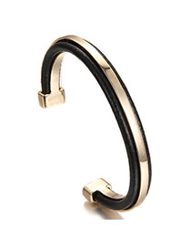 Fashion Black+gold Color Color Matching Decorated Simple Opening Bracelet