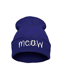Cute Navy Letter Shape Decorated Pure Color Simple Hat