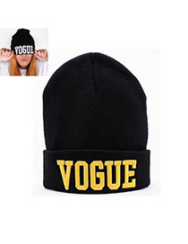 Fashion Black+yellow Vogue Letter Decorated Pure Color Simple Hat