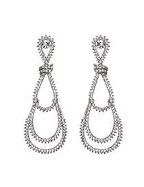 Vintage Silver Color Watershape Design Pure Color Simple Earrings