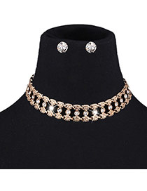 Exaggerated Gold Color Diamond Decorated Hollow Out Pure Color Jewelry Sets