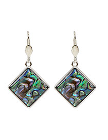 Fashion Multi-color Painted Sculptures Pattern Decorated Square Shape Earring