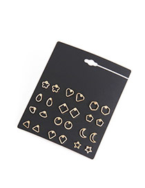 Elegant Gold Color Cartoon Shape Decorated Pure Color Earring Sets (24pcs)