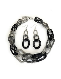 Elegant Black Double Layer Chain Weaving Decorated Color Matching Jewelry Sets