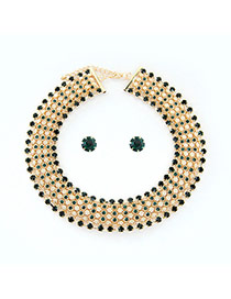 Luxury Green Multilayer Diamond Decorated Simple Jewelry Sets