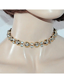 Luxury Gold Color Diamond&round Shape Decorated Simple Chocker