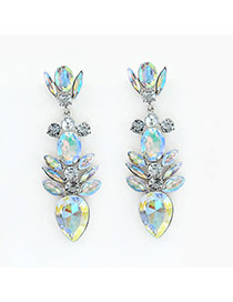 Luxury Multi-color(ab) Geometric Shape Gemstone Decorated Simple Earring