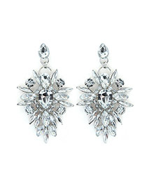 Luxury Silver Color Watedrop Diamond Decorated Hollow Out Earring