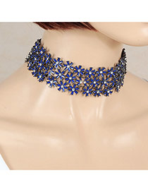 Sweet Bluee Multilayer Flower Shape Decorated Hollow Out Chocker