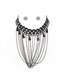 Vintage Black Beads Shape Pendant Decorated Tassel Jewelry Sets