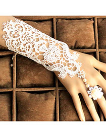 Luxury White Rose Flower Shape Decorated Hollow Out Lace Ring Sets