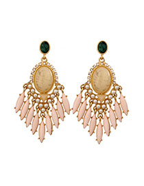 Exaggerated Pink Oval Shape Gemstone Decorated Tassel Design Earrings