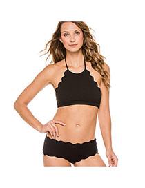 Sexy Black Pure Color Decorated Wave Hem Off-the-shoulder Simple Bikini