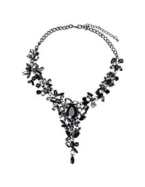 Fashion Black Water Drop Shape Diamond Decorated Simple Short Necklace