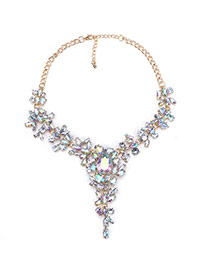Fashion Multi-color Water Drop Shape Diamond Decorated Simple Short Necklace