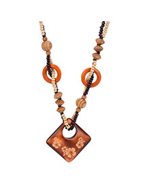 Fashion Brown Hollow Out Square Shape Pendant Decorated Double Layer Necklace