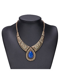 Exaggerated Blue Water Drop Shape Gemstone Decorated Irregular Shape Necklace